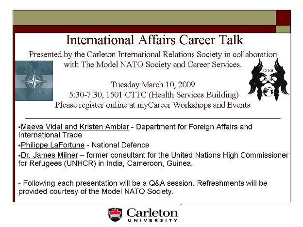 Carleton International Relations Society - Career